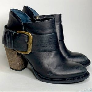 Steven Fairlow Black Leather Buckle Ankle Bootie